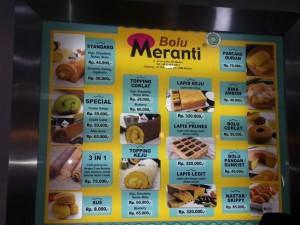 daftar harga di Toko Bolu Meranti