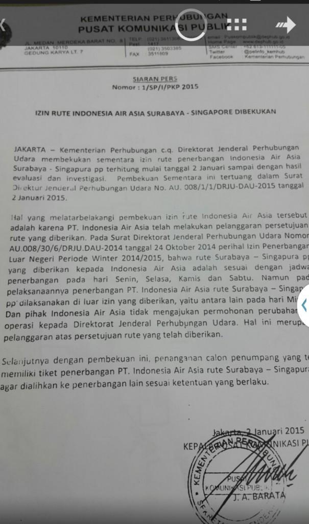 Surat Kemenhub Bekukan Ijin Rute Air Asia Surabaya-Singapura